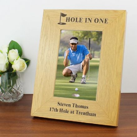 Personalised Golf 6x4 Oak Finish Photo Frame